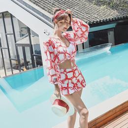 Biquínis sexy de peito on-line-Hot Primavera Três Peças Swimsuit Mulheres Conservador Dividir Saia Sexy Pequeno Peito Reunir Fino Biquíni Desgaste