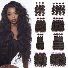 Wholesale Kinky Curly Hair Styles - Cheap Brazilian Malaysian Virgin Human Hair Wefts 3 Bundle or 4 Bundle Body Wave Straight kinky curly deep wave Style Human Hair Extension