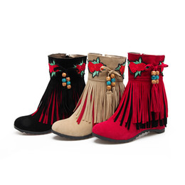 Wholesale Black Elevator Boots - Handmade Country and Indian Folk Style Flower Embroidered Women Tassels Suede 6.5cm Elevator Ankle Boots Ladies Booties