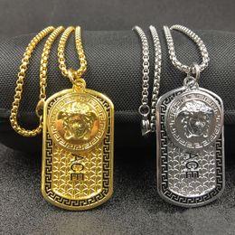 Wholesale pistol jewelry - 2017 New fashion Punk medusa Gold Silver hip hop neckalce Metal Maxi Pistol dog tag Necklace & Pendants Hip Hop Jewelry for Men hot