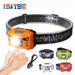 Wholesale Rechargeable Headlight Usb - 5W LED Headlamp Body Motion Sensor Mini Headlight Rechargeable Outdoor Camping Flashlight Head Torch Lamp With USB