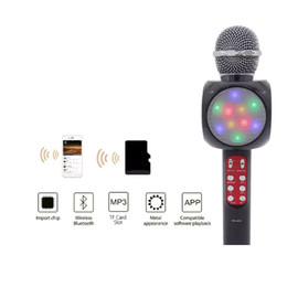 led light for cars flashing Promo Codes - Wholesale High quality WS1816 Flash LED Lights Wireless Bluetooth Handheld microphone for family, KTV, outdoor, car, stage with retail box