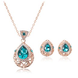 Blauer Kristall Schmuck Vergoldete Halskette Set Fashion Diamant Hochzeit Brautschmuck Sets Party Rubin Jewelrys (Halskette + Ohrringe) von Fabrikanten