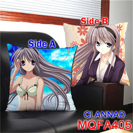Wholesale Sexy Anime Pillows - Hot Sexy Custom CLANNAD Decorative Pillows Cushions 45X45CM Soft Square Two-Side Printed Pillow for CLANNAD Anime Fans Gifts