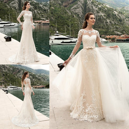 b9f942f83ed 2018 Illusion Long Sleeves Mermaid Wedding Dresses Lace Appliques Backless  Bow Bridal Gowns With Tulle Detachable Train detachable tulle shirt wedding  dress ...