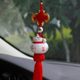 Voiture pendentif chat chanceux mignon conduite sûre chanceux bénédiction voiture accrochant ornement rétroviseur automatique décoration ? partir de fabricateur