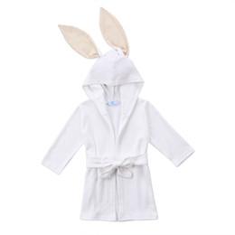 Wholesale Baby Boy Bath Robe Animal - Boy Girl Animal Baby Robe White Rabbit Autumn Long Sleeve Long Ear Toddler Kids Hooded Bath Towel Bathing Honey Baby