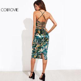 cdd77975bbf robes de velours midi Promotion COLROVIE Lace Up Back Floral Velvet Dress  2017 Botanique Femmes Sexy