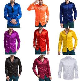 Canada Loisirs Vêtements pour hommes Chemises à manches longues en soie d'émulation de haute qualité Chemise décontractée pour hommes Satin brillant cheap emulation silk shirts Offre