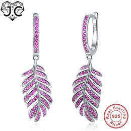 Настоящие рубиновые серьги онлайн-J.C For Female Exquisite Leaf Style Round Cut Ruby Red Topaz Delicate Earrings Real 925 Sterling Silver Earrings Fine Jewelry
