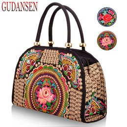 Wholesale Embroidery Dress Shop - GUDANSEN Pure Handmade Hard Case embroidery ethnic bags women handbag flower bag over shoulder Lady shopping bags embroidered