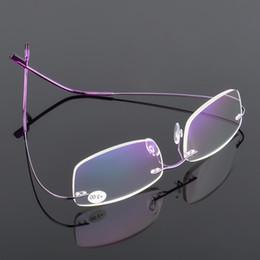 Rahmenlose brille titan online-VCKA Männer Ultraleichte Flexible Speicher Titan Frameless Frauen Marke Randlose Lesebrille Dioptrien + 1.00, + 1.50, + 2.00, + 2.50, + 3.0