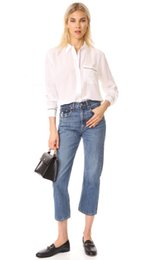 Wholesale Equipment Blouses - 2018 Spring 100% Real Silk Long Sleeves Turn-Down Collar Striped Print With Pocket Lady Blouse Fashion EQ Equipment Shirt Shirts