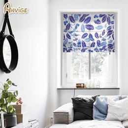 Wholesale Print Blackout Curtains - Anvige Included Curtain Roman Blinds Printed Leaf Blackout Curtains For Living Room Free Shipping