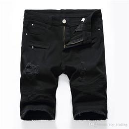 Mens vermelho shorts jeans on-line-Mens afligido Skinny Denim Shorts moda designer de marca rasgado vermelho motociclista Jean Shorts na altura do joelho verão alta estiramento calças curtas 601