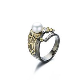 Anelli barocchi online-RADHORSE 925 Anelli in argento per donna Fine Jewelry Natural Pearl Baroque Retro Silver Ring regolabile in nero