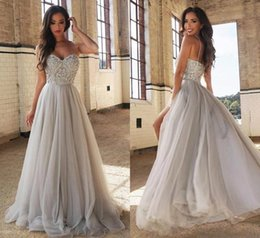 Wholesale grey modest dress - Modest Spaghetti Straps Beads Evening Dresses 2018 Grey Sequins Tulle Ball Party Long Prom Dresses Pageant Gown Robe De Soiree
