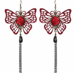 2019 wein rote ohrringe Heiße neue lange Ohrringe im koreanischen Stil mit Fransen, raffinierten Hohlperlen, weinrot, Schmetterlingsohrringen, modischen und Designerohrringen günstig wein rote ohrringe
