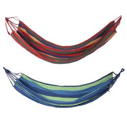 Wholesale Outdoor Hammock Swings - Outdoor Portable Hammock Home Garden Travel Sports Camping Canvas Stripe Hang Swing Single Bed Hammock Red Blue 280*80cm 200kgs