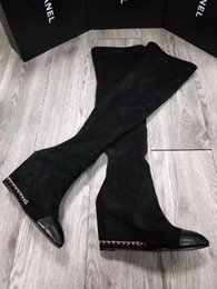 Wholesale Thigh High Wedges Boots - Pointed Toes chain sole Patchwork wedge shoes Slip-on Women's Shoes Thigh-high Boots Platform High-heeled Black Name Brand Fashion Boots