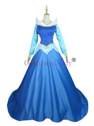 Wholesale Women Sleeping Beauty Costume - The sleeping beauty Aurora blue pricess Dress girls women Cosplay Costume