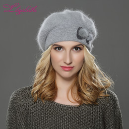 Wholesale Angora Women - LILIYABAIHE NEW winter Women beret hat knitted wool angora beret Simple and stylish mink flower decoration cap Double warm hat