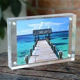 plastic acrylic sheets Promo Codes - 1 SET Acrylic Transparent Rectangle Magnet Photo Frame Sheet Europe Simple Fashion Picture Frame Plastic PMMA Board