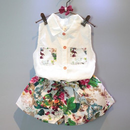 Wholesale Cute Clothes For Kids - New fashion for girls in summer Clothing Sets Sleeveless shirt Suihua Suit baby clothes kid clothing 2pcs set