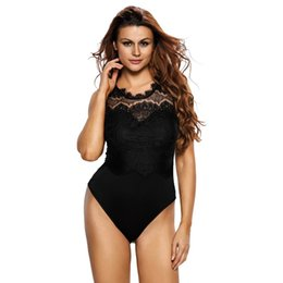 Wholesale Women Lace Romper - 2018 New Designer Bodysuit Women Sexy Black Lace High Neck Cut Out Back Bodycon Jumpsuits Romper Combinaison Shorts Playsuits