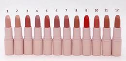 Wholesale Lipstick Tubes - Makeup Lipstick Velvet Matte Lipstick Natural Nutritious Nude Color Lipstick Pink Iron Tube Have 12 Different Colors