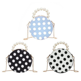 pearl handles Coupons - Retro Women Romantic Round Shape Pearl Top-Handle Clutch Handbag Ladies PU Leather Crossbody Bags Bolsa Feminina