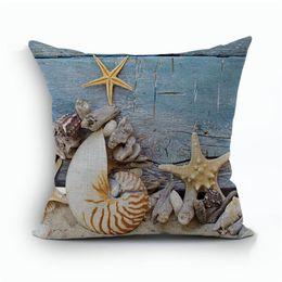 Mittelmeerkissen online-Starfish Shell Mittelmeer Wind Seabird Baumwolle Leinen Kissenbezug Mann Frau Schlafzimmer Sofa Weichen Kissenbezug Bettwäsche Lieferungen 9 kz ff