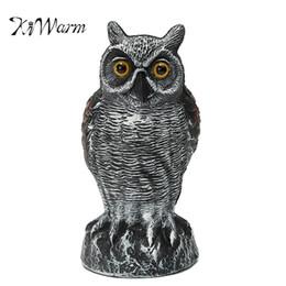 Wholesale Owl Ornaments - Kiwarm Fashion Lifelike Fake Standing Owl Bird Hunting Shooting Decoy Deterrent Repeller Home Garden Decor Ornament