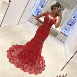 Wholesale Mother Bride Dresses Petite - 2018 Graceful Red Long Mother Of the Bride Dresses Sleeveless With Lace Appliques Pleats Pattern Women Evening Prom Dresses