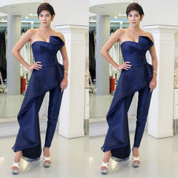 Wholesale Plus Size Strapless Jumpsuit - 2018 New Navy Blue Jumpsuits Prom Dresses Backless Satin Strapless Floor Length Dress Evening Wear Party Gown Plus Size