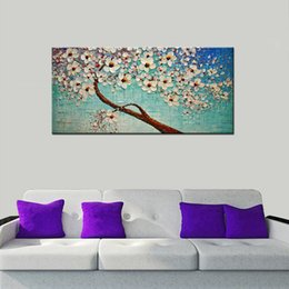 Wholesale Flowering Trees Pictures - Flowers Decoration Artwork-Handmade Abstract Cherry Blossom Tree Oil Paintings on Canvas Wall Pictures for Living Room Unframed
