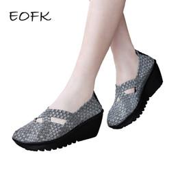 Wholesale pump weaves - wholesale New Summer Women Platform Shoes Handmade Woven Thick High Heel Slip On Nylon Wedges Shoes Woman Female Footwear