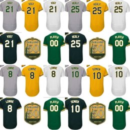 Wholesale Kelly Green Shorts - Men's Oakland 21 Stephen Vogt 8 Jed Lowrie 10 Marcus Semien 25 Ryon Healy Kelly Green 50th Anniversary Patch Flex Base Custom Jersey