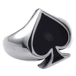 Suena buena suerte online-Classic Poker Spades Gambler Good Luck Finger Ring Mens Poker Spades Silver Anillos de acero inoxidable Charm For Men Women