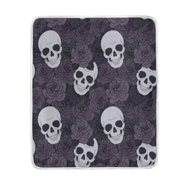 Wholesale Couch Blankets - Home Decor Purple Flower Sugar Skull Soft Warm Blanket for Bed Couch Sofa Lightweight Travelling Camping 60 x 50 Inch Throw Size