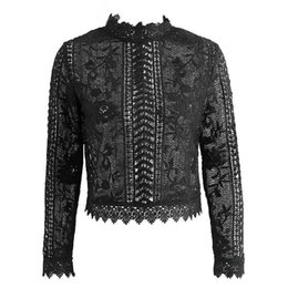 Простые блузки онлайн-Women Lace Tops Romantic Black White Round Neck Long Sleeve Hollow Out Lady Crochet Sheer Sexy Plain Blouse