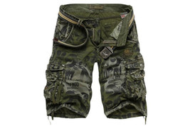 Wholesale yellow cargo shorts mens - Fashion Summer Men Sports Army Green Pocket Cargo Shorts Casual Camouflage Short Pants Mens  Plus Size 29-38