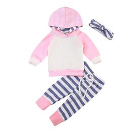 Argentina 2PCS Infant Baby Boys Girls Outfit Blue Pink con capucha de manga larga sudadera Top Stripes Pants Toddler Kids Clothes Baby's Set supplier boy clothes 2pcs set stripe long Suministro