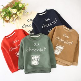 Wholesale European Children Clothes Sizes - Kids cute letters printing Hoody au chocolat children pullover 5colors 5 sizes for boys girls 1-8T children spring autumn casual clothing