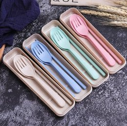 Wholesale portable plastic cutlery sets - 100pcs  creative fashion home wheat straw gift cutlery set children's portable spoon fork chopsticks three-piece gift