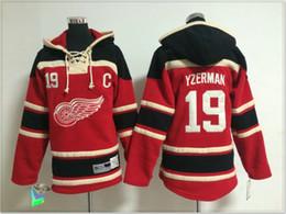vintage frauen pullover Rabatt Womens Detroit rote Flügel # 19 Steve Yzerman Vintage Eishockey-Hemden Uniformen Pullover Hoodies genähte Stickerei Sport Pro Team Trikots