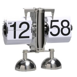 Reloj despertador de pie online-Retro Modern Alarm Scale Digital Auto Flip Dual Stand Escritorio Mesa Balance Reloj Flip Clock