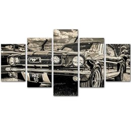 Wholesale Framed Car Pictures - MingTing - 5 Panel Canvas Wall Art Ford Sports Car Poster Painting Modern Home Decor For Living Room No Frame