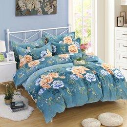 gemütliche bettwäsche Rabatt Monily Nordic Blumendruck 4 STÜCKE Home Bettwäsche Elegante Gemütliche Bettbezug Sets Pflanzen Hotel Bettwäsche Sets Bettlaken Kissenbezüge