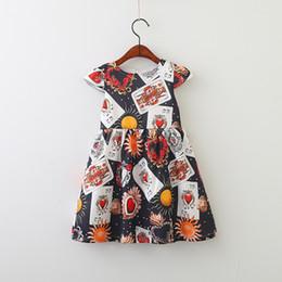 Wholesale Poker Sleeve - Love Heart poker Girls Dress 2018 New Spring Printed Fly Sleeve Children Princess Dresses Fashion Korean Kids Birthday Dress C2834
